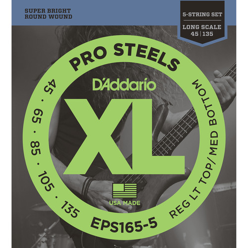 D'Addario EPS165-5 Custom Light XL Pro Steels Electric Bass Strings (5-String, Long Scale, 45 - 135)