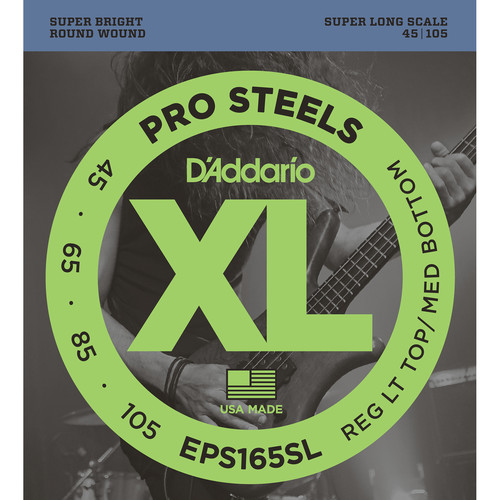 D'Addario EPS165SL Custom Light XL ProSteels Electric Bass Strings (4-String, Super Long Scale, 45 - 105)