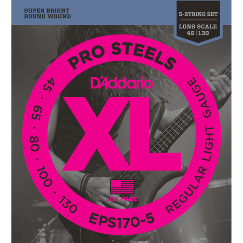 D'Addario EPS170-5 Light XL Pro Steels Electric Bass Strings (5-String, Long Scale, 45 - 130)