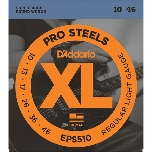 D'Addario EPS510 Regular Light XL ProSteels Electric Guitar Strings (6-String, 10 - 46)