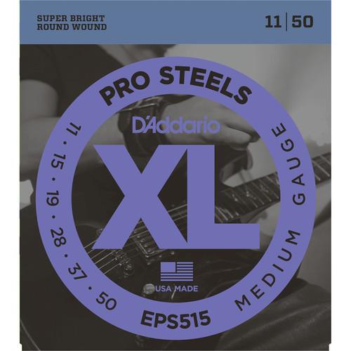 D'Addario EPS515 Medium XL ProSteels Electric Guitar Strings (6-String, 11 - 50)