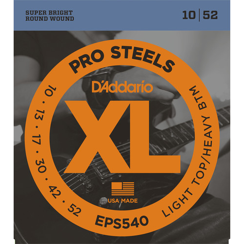D'Addario EPS540 Light Top/Heavy Bottom XL ProSteels Electric Guitar Strings (6-String, 10 - 52)