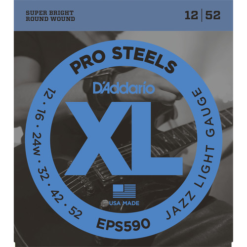 D'Addario EPS590 Jazz Light XL ProSteels Electric Guitar Strings (6-String, 12 - 52)