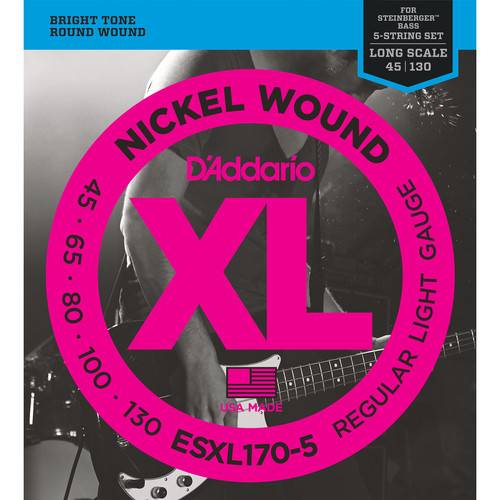 D'Addario ESXL170-5 Light XL Nickel Wound Electric Bass Strings (5-String, Double Ball End, Long Scale, 45 - 130)