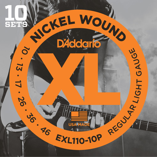 D'Addario EXL110 Regular Light Pro-Pack XL Nickel Wound Electric Guitar Strings (6-String Set, 10 - 46, 10-Pack)