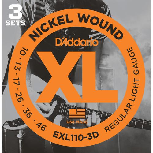 D'Addario EXL110-3D Regular Light XL Nickel Wound Multi-Pack Electric Guitar Strings (6-String Set, 10 - 46, 3-Pack)