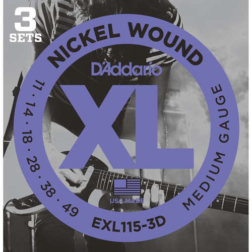 D'Addario EXL115 Medium/Blues-Jazz Rock Multi-Pack XL Nickel Wound Electric Guitar Strings (6-String Set, 11 - 49, 3-Pack)