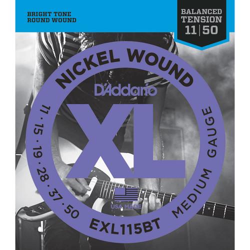 D'Addario EXL115BT Balanced Tension Medium XL Nickel Wound Electric Guitar Strings (6-String Set, 11 - 50)