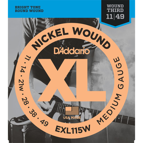 D'Addario EXL115W Medium/Blues-Jazz Rock, Wound 3rd XL Nickel Wound Electric Guitar Strings (6-String Set, 11 - 49)