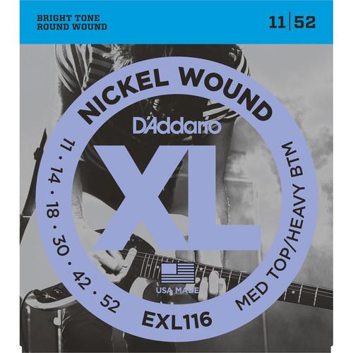 D'Addario EXL116 Medium Top/Heavy Bottom XL Nickel Wound Electric Guitar Strings (6-String Set, 11 - 52)