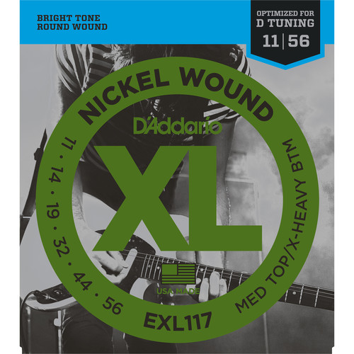 D'Addario EXL117 Medium Top/Extra-Heavy Bottom XL Nickel Wound Electric Guitar Strings (6-String Set, 11 - 56)