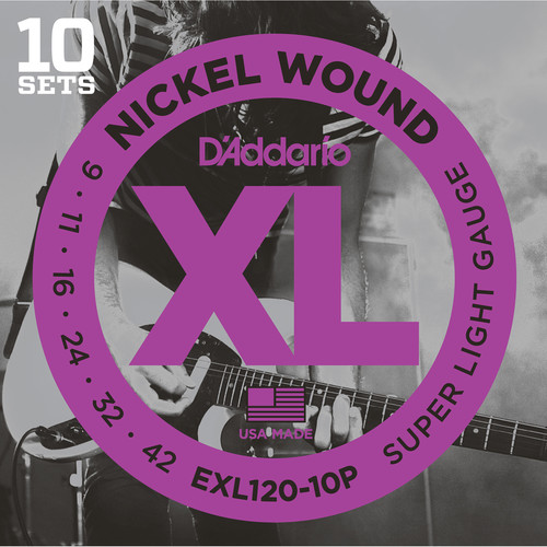 D'Addario EXL120 Super Light Pro-Pack XL Nickel Wound Electric Guitar Strings (6-String Set, 9 - 42, 10-Pack)