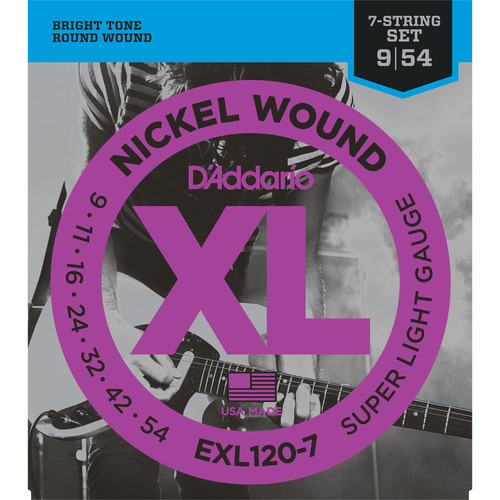 D'Addario EXL120 Super Light XL Nickel Wound Electric Guitar Strings (7-String Set, 9 - 54)