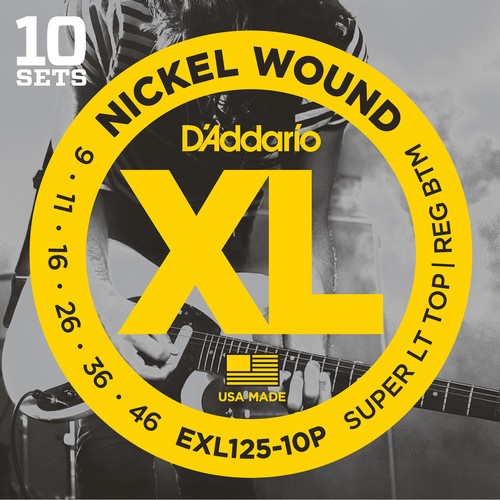 D'Addario EXL125 Super Light Top/Regular Bottom Pro-Pack XL Nickel Wound Electric Guitar Strings (6-String Set, 9 - 46, 10-Pack)
