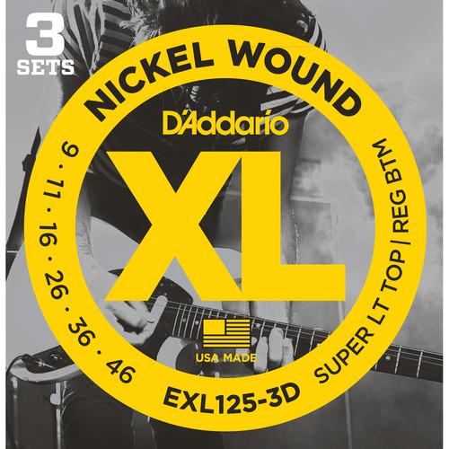 D'Addario EXL125-3D Super Light Top/ Regular Bottom XL Nickel Wound Multi-Pack Electric Guitar Strings (6-String Set, 9 - 46, 3-Pack)