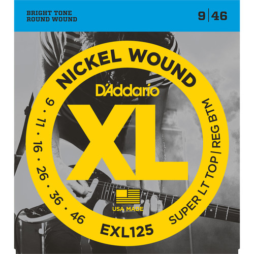 D'Addario EXL125 Super Light Top/ Regular Bottom XL Nickel Wound Electric Guitar Strings (6-String Set, 9 - 46)