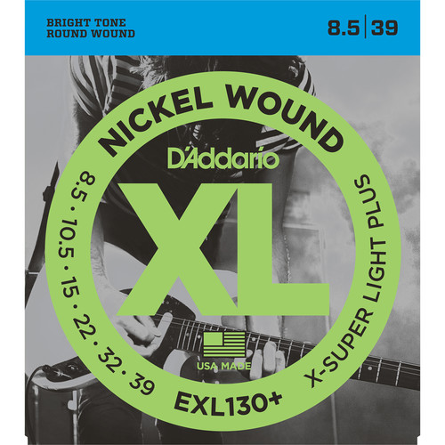 D'Addario EXL130+ Extra Super Light Plus XL Nickel Wound Electric Guitar Strings (6-String Set, 8.5 -39)