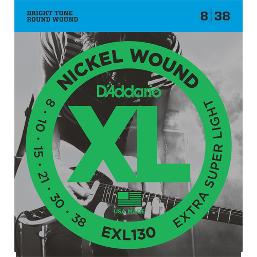 D'Addario EXL130 Extra Super Light XL Nickel Wound Electric Guitar Strings (6-String Set, 8 - 38)