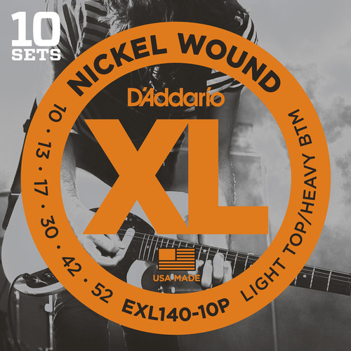 D'Addario EXL140 Light Top/Heavy Bottom Pro-Pack XL Nickel Wound Electric Guitar Strings (6-String Set, 10 - 52, 10-Pack)