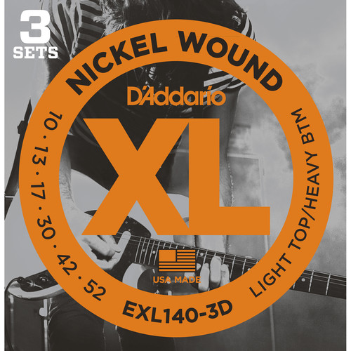 D'Addario EXL140 Light Top/Heavy Bottom Multi-Pack XL Nickel Wound Electric Guitar Strings (6-String Set, 10 - 52, 3-Pack)