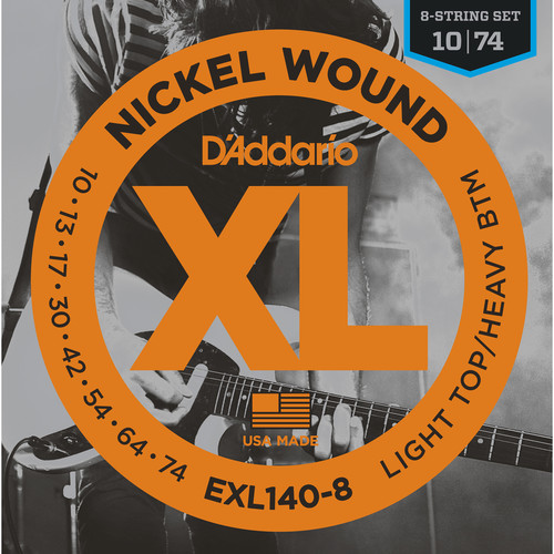 D'Addario EXL140-8 Light Top/Heavy Bottom XL Nickel Wound Electric Guitar Strings (8-String Set, 10 - 74)