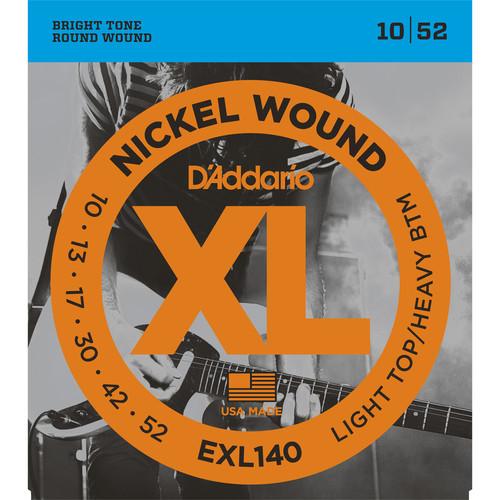 D'Addario EXL140 Light Top/Heavy Bottom XL Nickel Wound Electric Guitar Strings (6-String Set, 10 - 52)