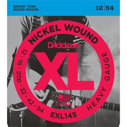 D'Addario EXL145 Heavy, Plain 3rd XL Nickel Wound Electric Guitar Strings (6-String Set, 12 - 54)