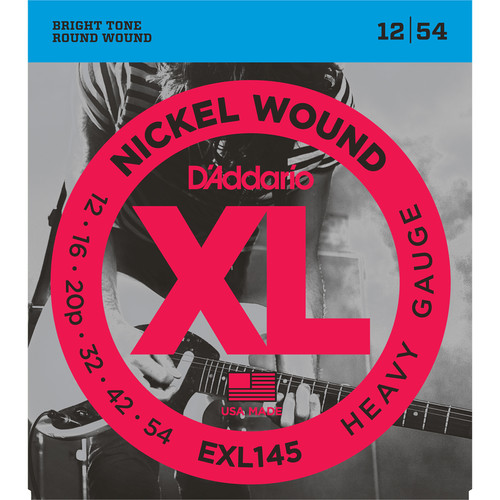 D'Addario EXL145 Heavy, Plain 3rd XL Nickel Wound Electric Guitar Strings (6-String Set, 12 - 54)