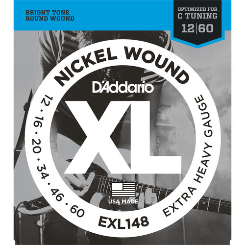 D'Addario EXL148 Extra Heavy XL Nickel Wound Electric Guitar Strings (6-String Set, 12 - 60)
