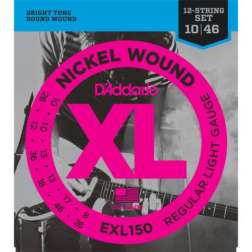 D'Addario EXL150 Regular Light XL Nickel Wound Electric Guitar Strings (12-String Set, 10 - 46)