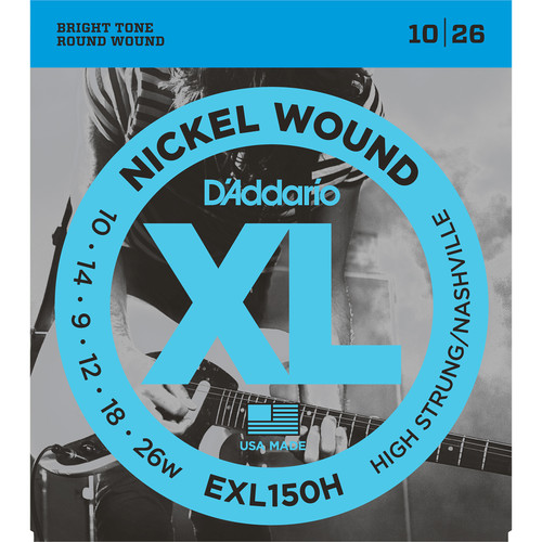 D'Addario EXL150H High-Strung/Nashville Tuning XL Nickel Wound Electric Guitar Strings (6-String Set, 10 - 26)