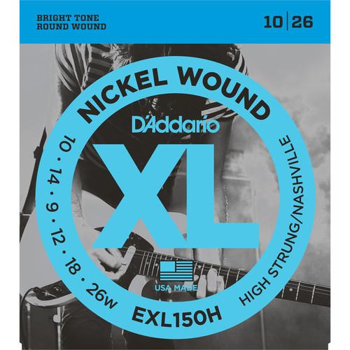 D'Addario EXL150H High-Strung/Nashville Tuning XL Nickel Wound Electric Guitar Strings (6-String Set, 10 - 26)