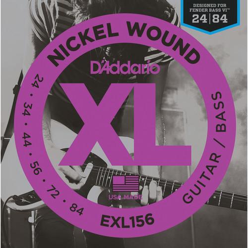 D'Addario EXL156 Fender Bass VI XL Nickel Wound Electric Bass Strings (6-String, 24 - 84)
