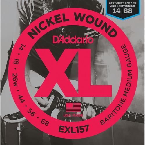 D'Addario EXL157 Medium XL Nickel Wound Electric Baritone Guitar Strings (6-String Set, 14 - 68)
