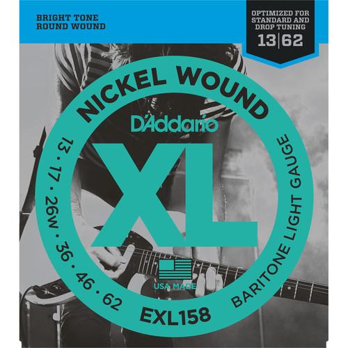 D'Addario EXL158 Light XL Nickel Wound Electric Baritone Guitar Strings (6-String Set, 13 - 62)