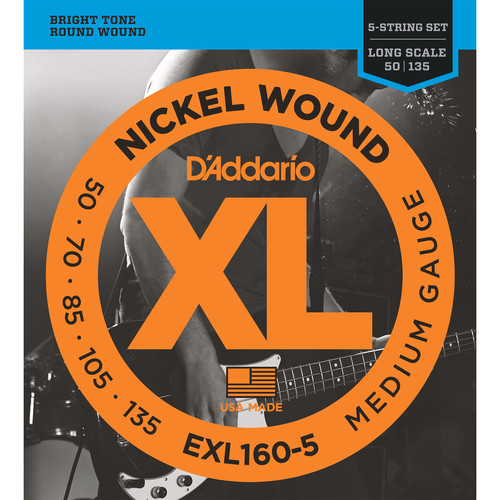 D'Addario EXL160-5 Medium XL Nickel Wound Electric Bass Strings (5-String, Long Scale, 50 - 135)