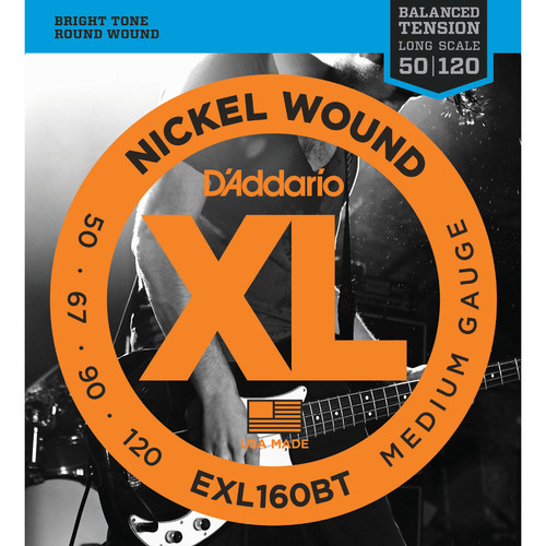 D'Addario EXL160BT Balanced Tension Medium XL Nickel Wound Electric Bass Strings (4-String, Long Scale, 50 - 120)
