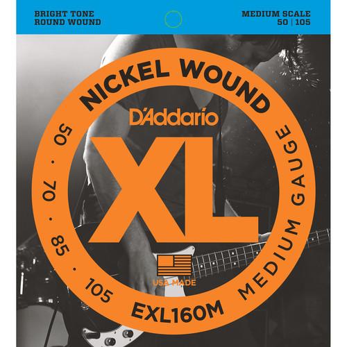 D'Addario EXL160M Medium XL Nickel Wound Electric Bass Strings (4-String, Medium Scale, 50 - 105)