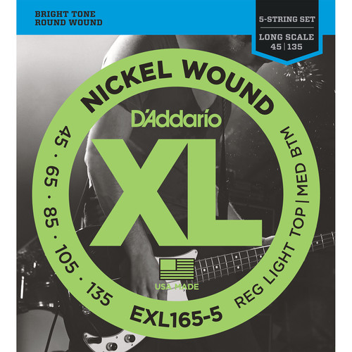 D'Addario EXL165-5 Custom Light XL Nickel Wound Electric Bass Strings (5-String, Long Scale, 45 - 135)