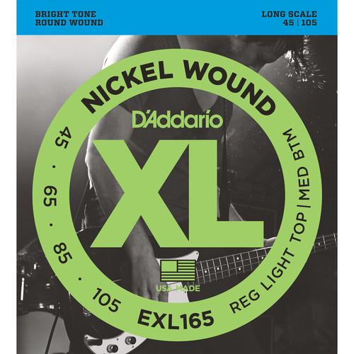 D'Addario EXL165 Custom Light XL Nickel Wound Electric Bass Strings (4-String, Long Scale, 45 - 105)