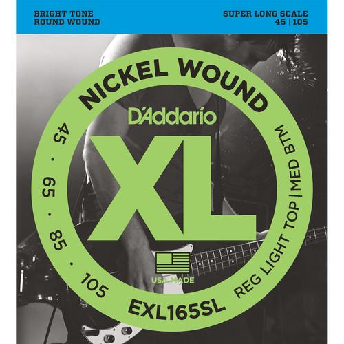 D'Addario EXL165SL Custom Light XL Nickel Wound Electric Bass Strings (4-String, Super Long Scale, 45 - 105)
