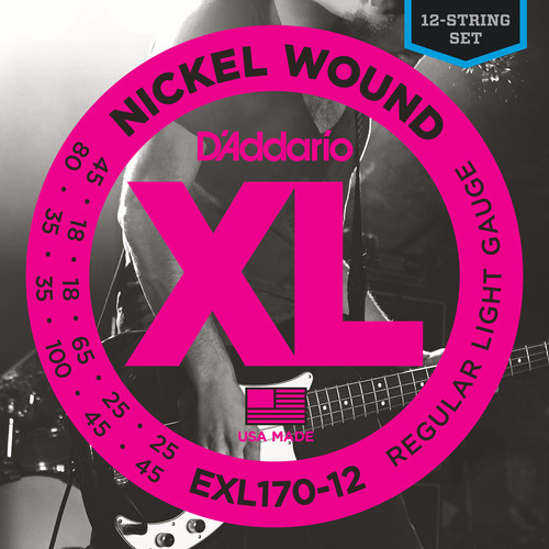 D'Addario EXL170-12 Light XL Nickel Wound Electric Bass Strings (12-String, Long Scale, 18 - 100)