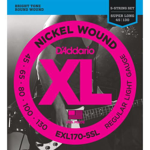 D'Addario EXL170-5SL Light XL Nickel Wound Electric Bass Strings (5-String, Super Long Scale, 45 - 130)