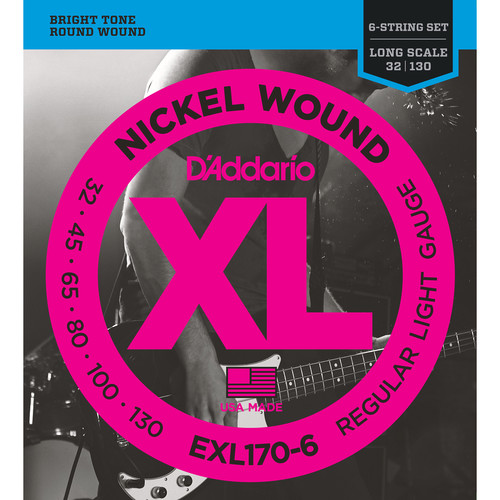 D'Addario EXL170-6 Light XL Nickel Wound Electric Bass Strings (6-String, Long Scale, 32 - 130)