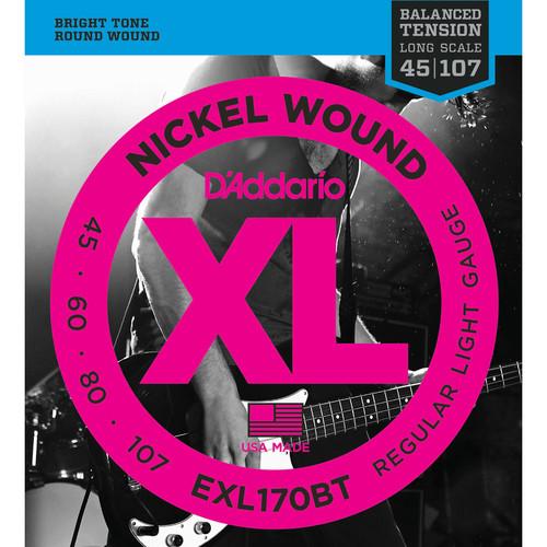 D'Addario EXL170BT Balanced Tension Regular Light XL Nickel Wound Electric Bass Strings (4-String, Long Scale, 45 - 107)