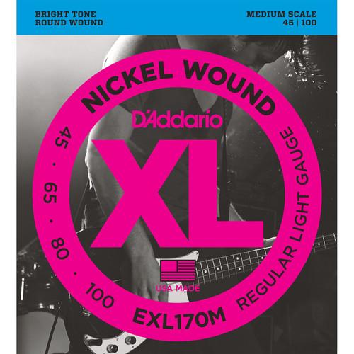 D'Addario EXL170M Light XL Nickel Wound Electric Bass Strings (4-String, Medium Scale, 45 - 100)