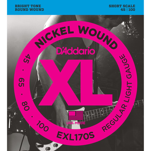 D'Addario EXL170S Light XL Nickel Wound Electric Bass Strings (4-String, Short Scale, 45 - 100)
