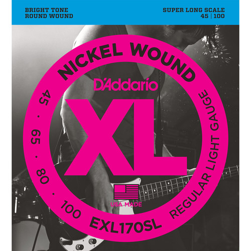 D'Addario EXL170SL Light XL Nickel Wound Electric Bass Strings (4-String, Super Long Scale, 45 - 100)