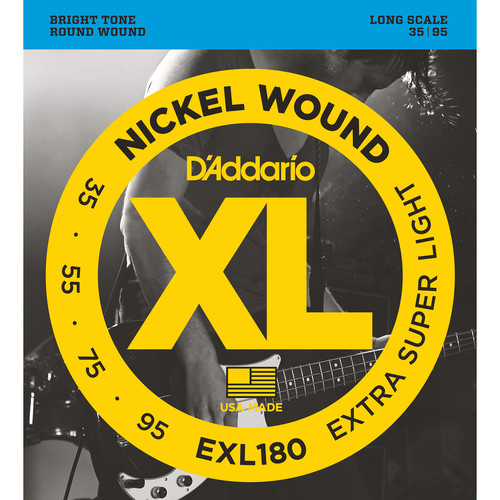 D'Addario EXL180 Extra Super Light XL Nickel Wound Electric Bass Strings (4-String, Long Scale, 35 - 95)