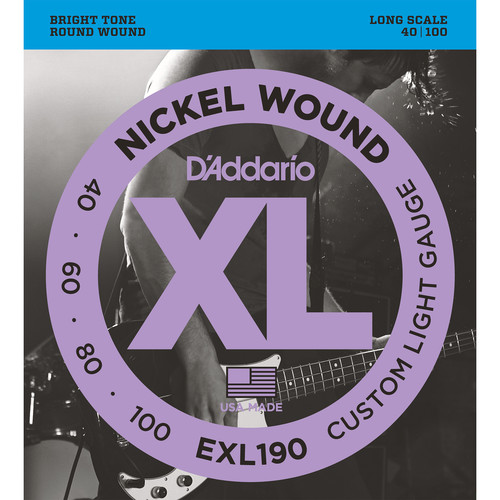 D'Addario EXL190 Custom Light XL Nickel Wound Electric Bass Strings (4-String, Long Scale, 40 - 100)